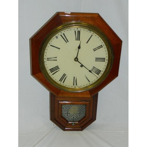 139 - Mahogany American c1860's period 13'' face wall clock...