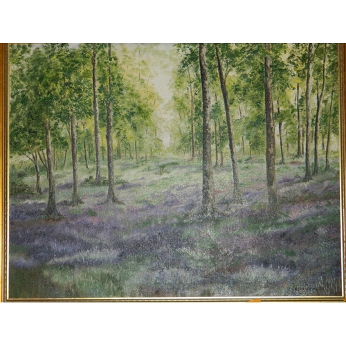 142 - E. Rawson framed oil on canvas titled 'Bluebell Woods' Speyside...