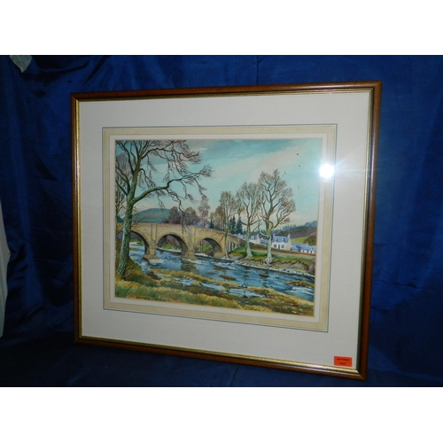 144 - T.J.Bertram framed watercolour titled 'Brig at Yair' [75x65cm]...