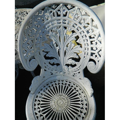 146 - Wrought iron style garden table shabby-chic style and 2 chairs...