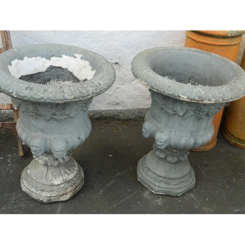 147 - Fabulous pair of stone grecian style garden urns...