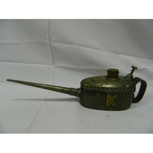 15 - Vintage hand-pump oil can with unusual fringe design...