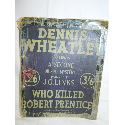 152 - Dennis Wheatley book titled 'Who killed Robert Prentice' - Unusal as it's laid as manuscript includi...