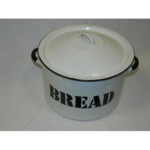 153 - Circular enamel bread bin...