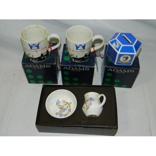 155 - 2 Adams SilverJubilee mugs, Charles & Diana wedding money box and