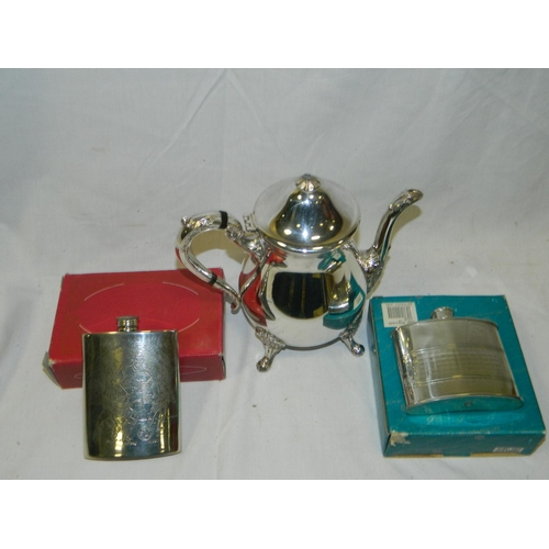 156 - Viners silver plated coffee pot and 2 plated hip flasks...