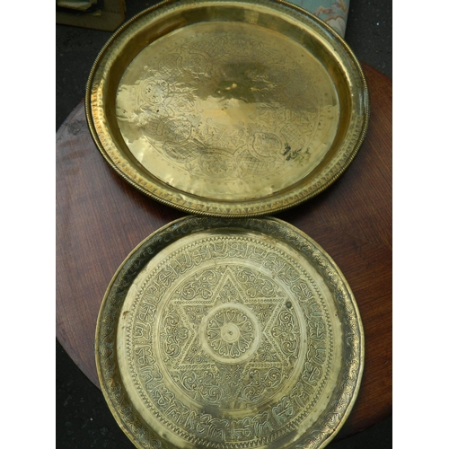 157 - Indian brass trays...