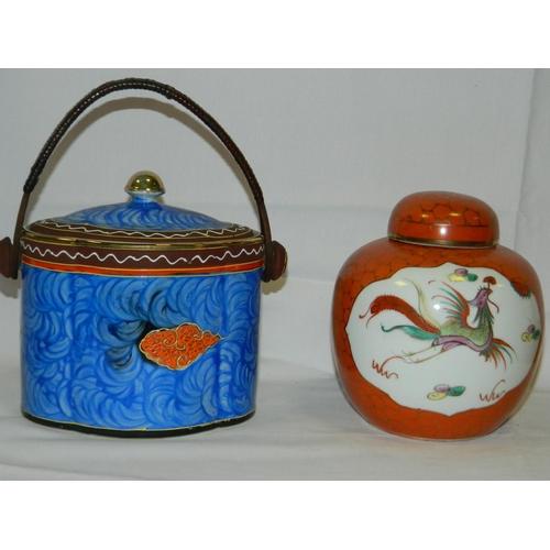 161 - Japanese biscuit barrel and ginger jar...