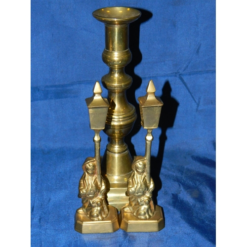 166 - 2 Brass statues of boys and dog under lamp posts and a brass candlestick...