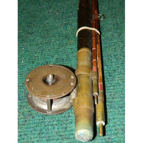 167 - 3 piece vintage fishing rod and reel...