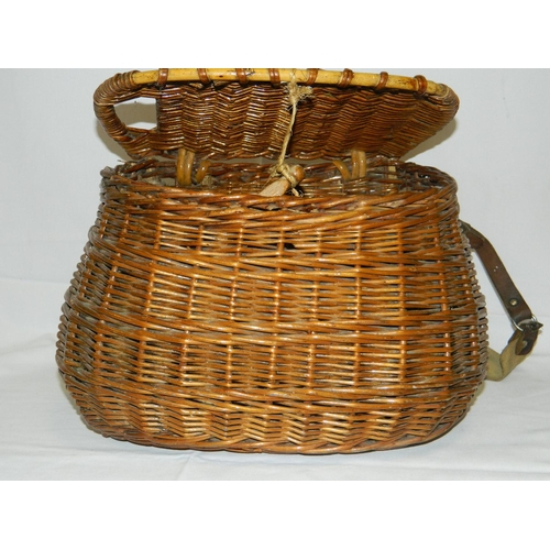 168 - Vintage Cane fishing basket...