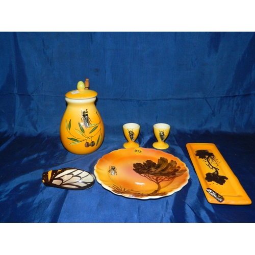 17 - French Insect design ceramic breakfast set signed 'T. Gicard'...