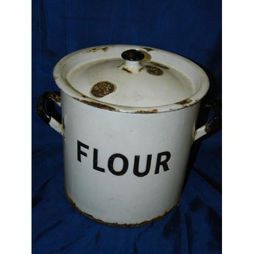 171 - French enamel flour storage bin...