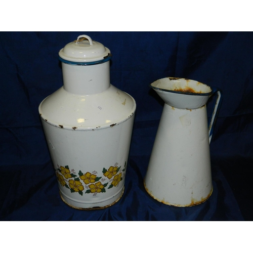 172 - French enamel water container and jug...