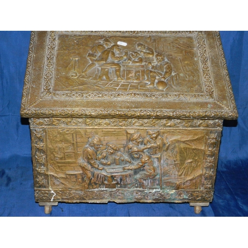 176 - Vintage brass log box...