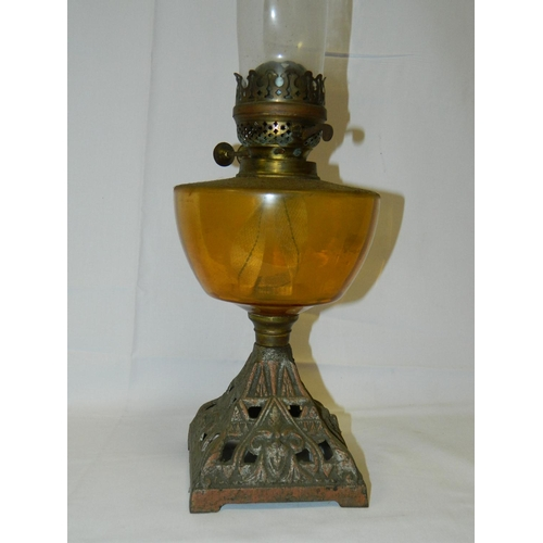 179 - Iron based oil lamp with funnel...