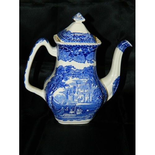 185 - Blue and white stoneware coffee pot...