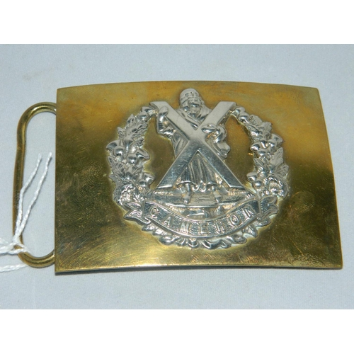 195 - Waist belt buckle of The Cameron Highlanders by Hobson & sons of London Ltd...