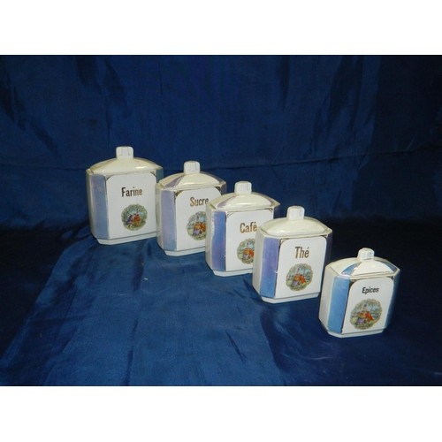 20 - French set of 5 ceramic kitchen containers...