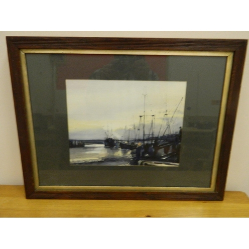 204 - Framed watercolour of a harbour scene...