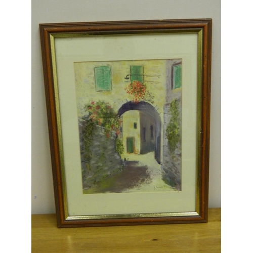 205 - J. Turnbull framed print 'Italian Village' Tuscany...