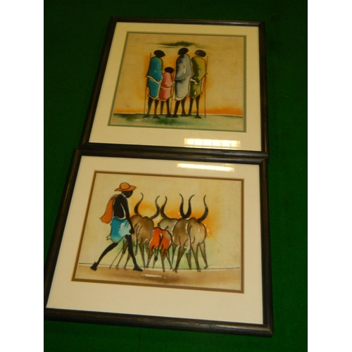 208 - 2 Ugandan 'Batik' paintings...