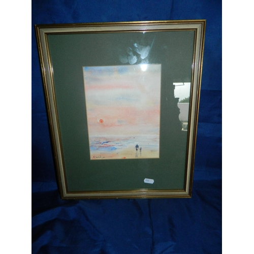209 - Framed watercolour of sunset on beach...
