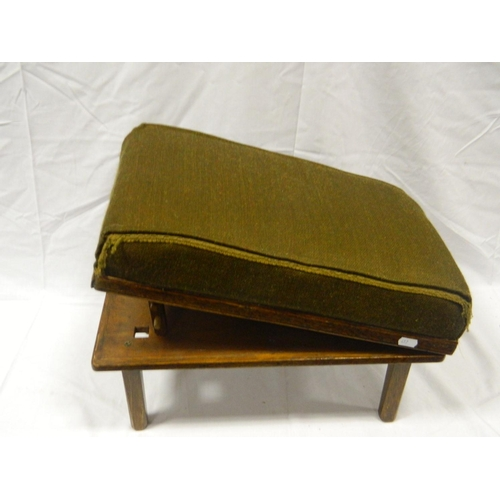 213 - Mid 20th Century wooden and fabric adjustable footstool...