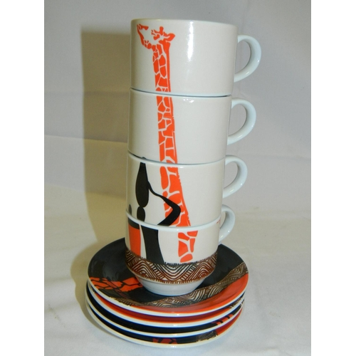 22 - 4 Giraffe patterned ceramic coffee cups and saucers...
