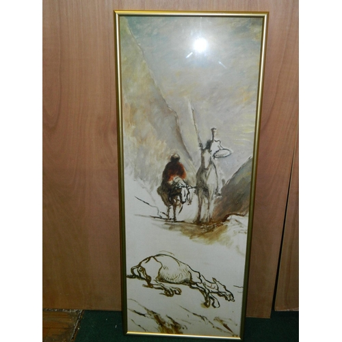 224 - Daumier framed print of 'Don Quixote and Sancho Panza' [57x145cm]...
