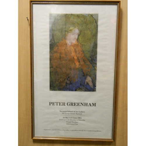 225 - Peter Greenhem art exhibition framed poster [1984]...