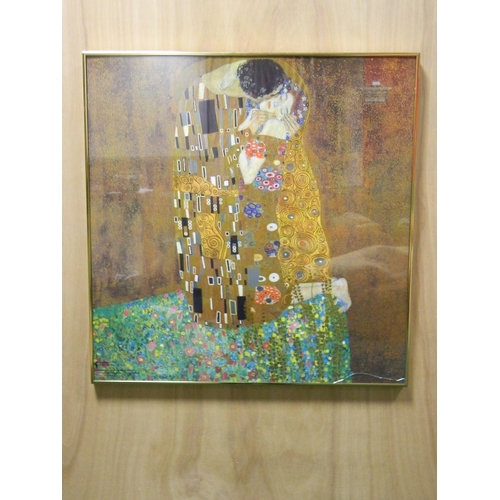 226 - Gustav Klimt framed print titled 'The Kiss' [69x69cm]...