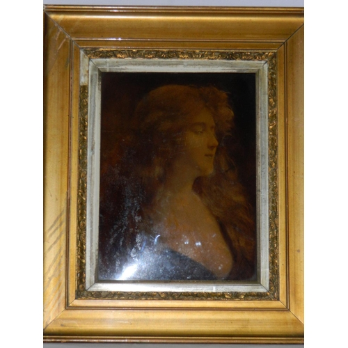 227 - Unsigned framed print of lady...