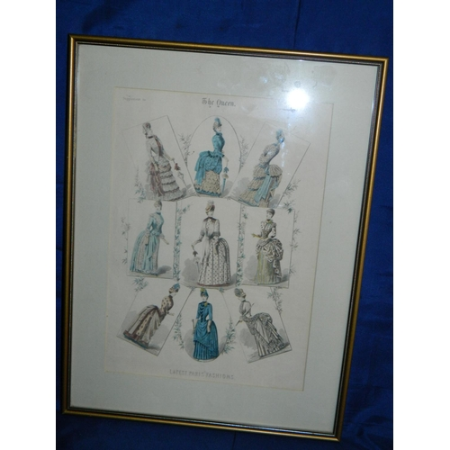 228 - Framed London Gazette 1885 colour lithograph of latest Paris fashions [36x47cm]...
