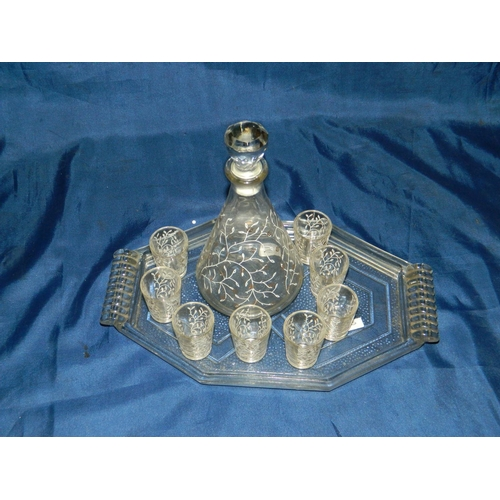 23 - Glass tray with decanter and 8 shot glasses...