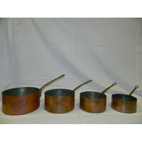24 - Set of 4 copper saucepans sizes ranging from 12 to 18 cm...