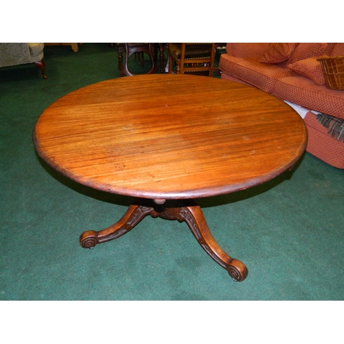 241 - Victorian Mahogany tilt-top dining table on 3 carved legs...