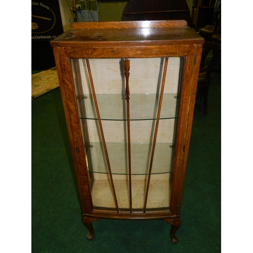 244 - circa 1930's display cabinet with 2 glass shelves...
