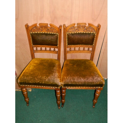 245 - 2 carved oak dining chairs...