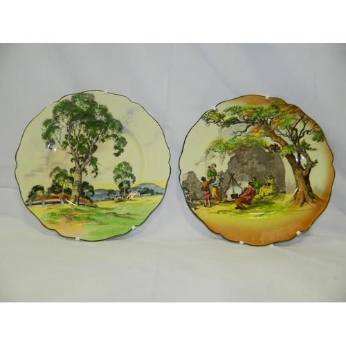 247 - 2 Royal Doulton wall hanging plates including 'The Gipsies' from 'English Old scenes' series and mod...