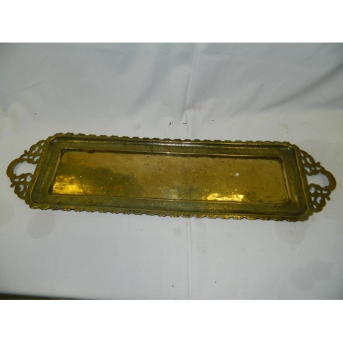 253 - Rectangular Indian brass tray...