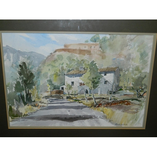 256 - S. Warburton silver colour framed watercolour of 'Mountain Villa' [60x48cm]...