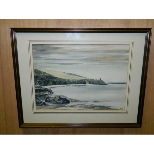257 - Signed BK framed watercolour of Coast...