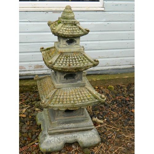 262 - Top quality stone garden ornamental chinese pagoda 1.2m tall approx...