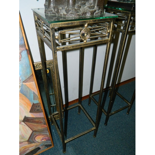 269 - Art deco style metal floor stand approx 1m Tall...