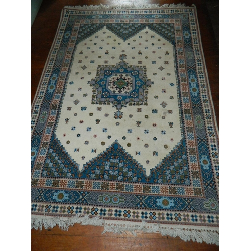 271 - Moroccan (Tangier signed) artisan white based rug 7x5 ft...