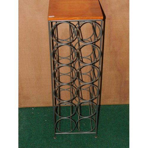273 - Wire wine stand with wooden top (fits 12 bottles) 90cm high...