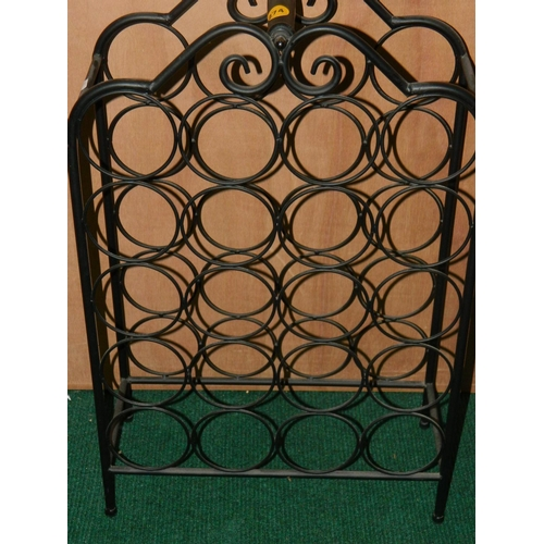 274 - Black metal wine stand (fits 20 bottles)...