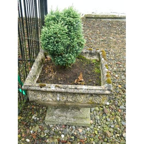 277 - Ornate garden square stone planter 20
