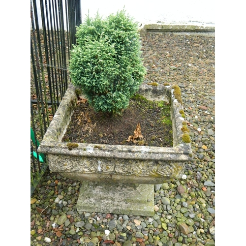 278 - Ornate garden square stone planter 20
